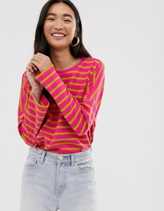 Read more about Monki oversized wide sleeve crew neck top in pink and mustard stripe
