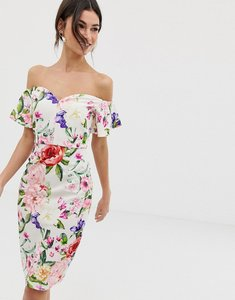 Read more about Paper dolls bardot ruffle sleeve floral printed pencil dress - multi