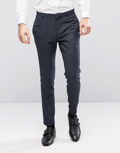 Read more about Asos wedding skinny suit trouser in navy micro texture - navy