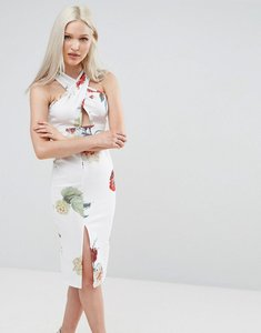 Read more about Ax paris scuba midi dress in floral print - cream