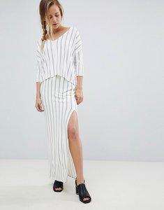 Read more about Bellfield vana pinstripe split side maxi skirt - white