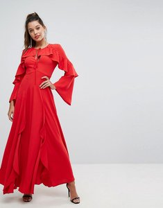 Read more about Forever new flippy maxi dress with frill detail - red