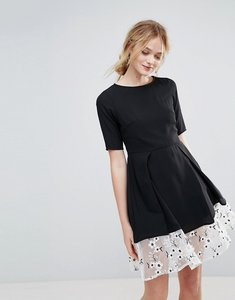 Read more about Traffic people drop hem dress with floral embroidered panel - black