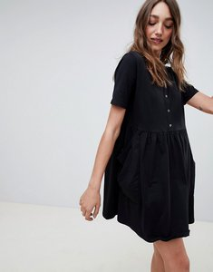 Read more about Asos design mini smock dress with pockets and button front - black