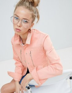 Read more about Asos design denim jacket in washed pink with zip detail - pink