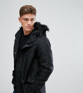 Read more about Only sons parka with faux fur borg lined hood - black
