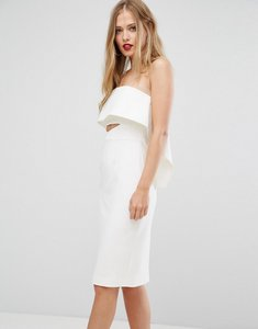 Read more about Forever new strapless midi dress with orgami frill - cream