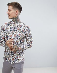 Read more about Asos design stretch slim floral shirt in white with grandad collar - white
