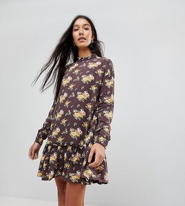 Read more about Asos tall washed mini dress with ruffle hem in floral print - multi