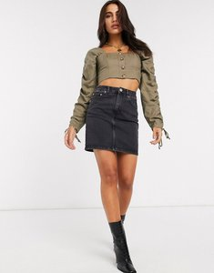 Read more about Asos design denim original high waisted skirt in washed black - washed black