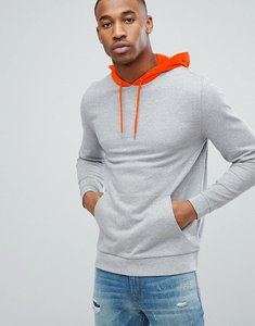 Read more about Asos hoodie with contrast hood in grey marl and orange - grey marl warning