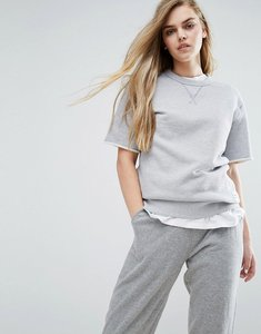 Read more about Converse premium essentials short sleeve sweat in grey - light grey heather