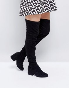 Read more about London rebel oversized bow over knee boot - black mf