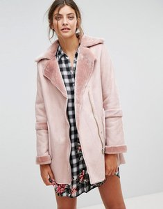 Read more about Stradivarius faux shearling jacket - pink