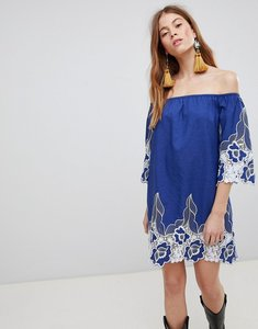 Read more about Glamorous off shoulder mini shift dress with contrast floral lace - blue