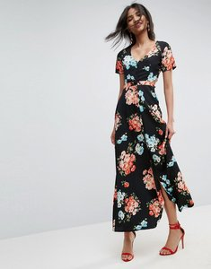Read more about Asos maxi tea dress with open back in floral - multi