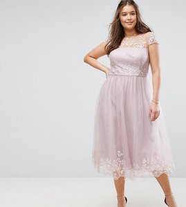 Read more about Chi chi london plus premium lace midi prom dress with lace neck - mink