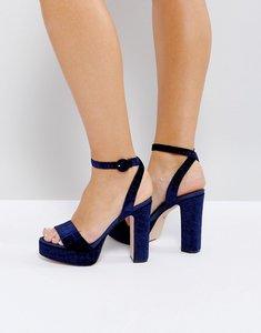 Read more about Dune london morisey velvet platform heeled sandals - navy-velvet
