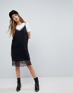 Read more about Asos lace insert slip mini dress - black