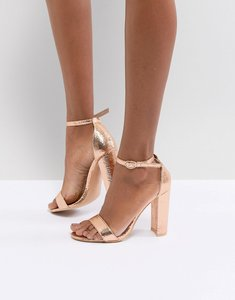 Read more about Glamorous rose gold barely there block heeled sandals - rose gold