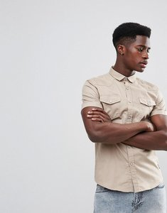 Read more about Brave soul double pocket short sleeve shirt - stone