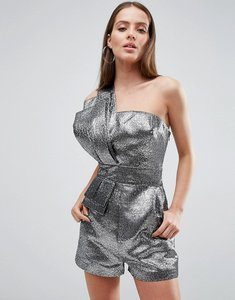 Read more about Asos 80 s metallic one shoulder playsuit in silver - silver