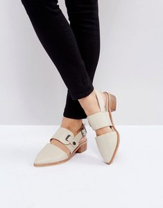 Read more about Intentionally blank intinsic cream leather cut out sling mid heeled shoes - bone