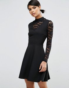 Read more about Asos high neck skater dress with lace insert and lace sleeves - black