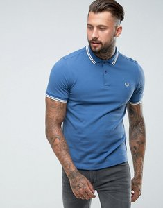 Read more about Fred perry slim fit tipped polo in soft navy - school blue