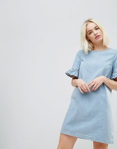 Read more about Chorus frill sleeve denim mini dress - worn nidigo