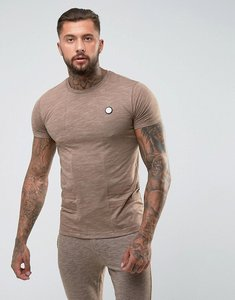 Read more about Intense muscle t-shirt in stone with contrast panel - stone