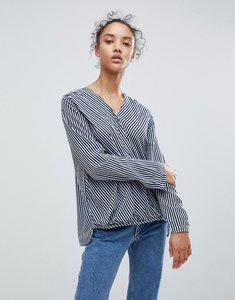 Read more about B young stripe wrap blouse - combi 1