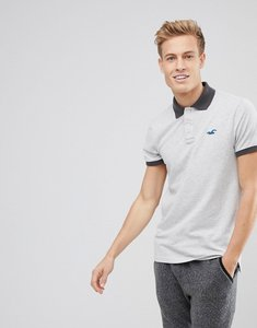Read more about Hollister stretch pique polo seagull logo in light grey - light grey