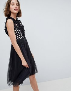 Read more about Needle thread high neck midi dress with cut out detail - graphite