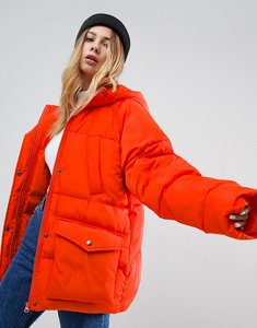 Read more about Asos puffer jacket with pocket detail - orange
