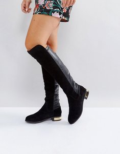 Read more about Carvela suede knee high flat boot - blk suede