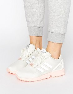 Read more about Adidas originals white zx flux trainers with pink sole - ftwr white