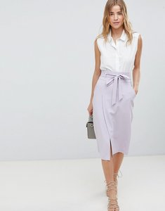 Read more about Asos design tailored pencil skirt with obi tie - lilac