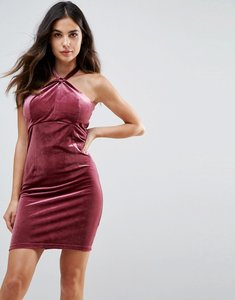 Read more about Wyldr isabelle velvet mini dress with twist front detail - pink