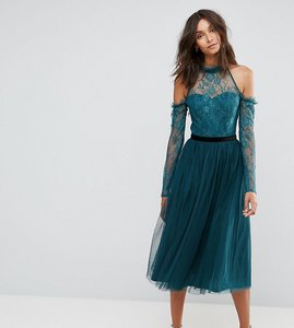 Read more about Asos tall premium tulle cold shoulder midi prom dress - green