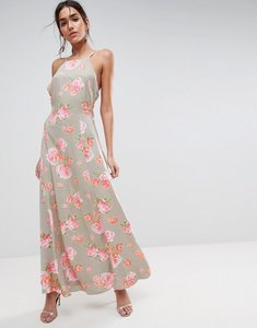 Read more about Asos open back maxi dress in pretty floral - multi