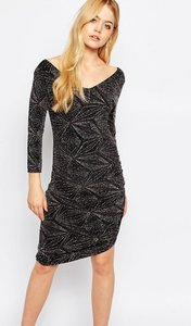 Read more about Ichi diamond print bodycon dress - black