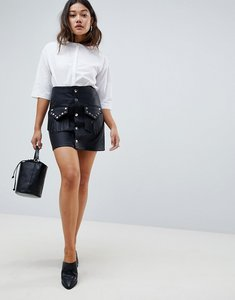 Read more about Asos design leather look mini skirt with studded pocket detail - black
