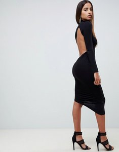 Read more about Asos design long sleeve extreme open back midi bodycon dress - black