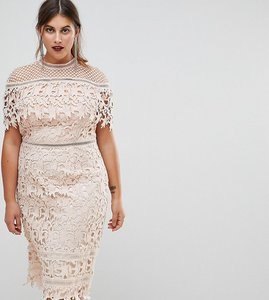 Read more about Chi chi london plus lace high neck pencil midi dress - soft blush