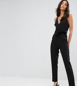 Read more about Asos tall wrap front jumpsuit with peg leg and self belt - black