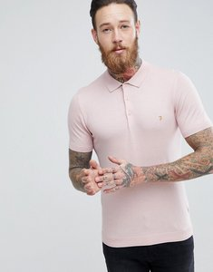 Read more about Farah ben slim fit knitted polo in pink - 660rose