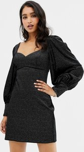 Read more about Forever new velvet mini dress with balloon sleeve in black