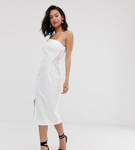 Read more about Laced in love scuba one shoulder strappy pencil dress with lace detail in white
