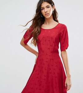 Read more about Asos tall short sleeve bird jacquard flippy mini dress - red